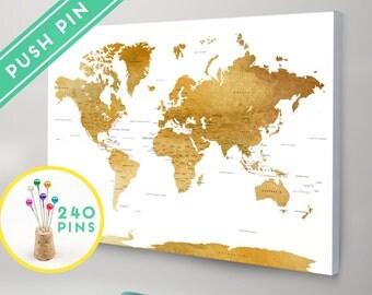 Personalized Push Pin World Map CANVAS World Map by Macanaz