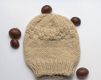 Thick Knit Alpaca Hat. Beige Chunky Beanie Cap. Thick Wool Winter Knit Hat. Ski Alpaca Hat . Gift For Skier. Stocking Filler.