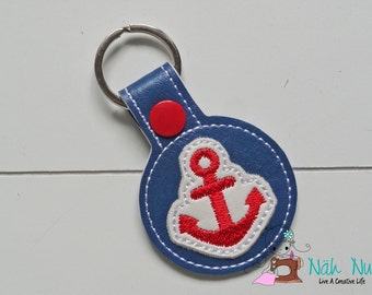 Key Fob ANCHOR blue/red/white, approx. 5,5 cm x 9,5 cm, artificial leather