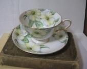 Vintage Tuscan JOHNROTH Fine English China Teacup and Saucer Set Dogwood Pattern - Dogwood Pattern English Teacup and Saucer Set
