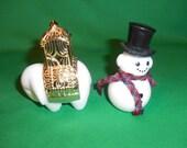 Two (2), Small, Avon, Milk Glass, Cologne Figurines. Elephant & Snowman.