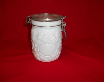 One (1), 3/4 Liter, Wheaton, Milk Glass, Canning Jar, with lid.