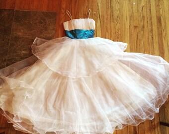 1950s White Party Dress Wedding Prom Formal xxs 30 bust