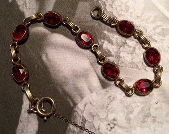 Red Garnet Glass Link Bracelet
