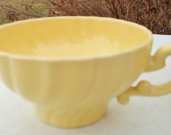 Vintage Coronado Franciscan Ware Flat Cup, Matte Yellow, Set Of 3, Made In USA, 1936-1954, Swirl, Replacements, Shabby Chic, Cottage Chic