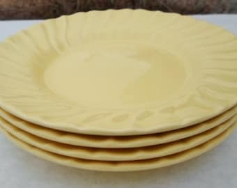 Vintage Coronado Franciscan Ware Bread & Butter Plates, Matte Yellow, Set Of 4, Made In USA, 1936-1954, Swirl, Replacements, Shabby Chic