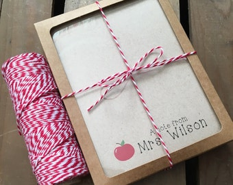 Teacher Gifts - Personalized Note Cards Stationery - CUSTOM - Apple - Wrapped - Recycled  - Eco - Gift Set of 12