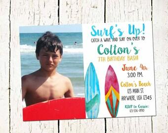 Surf's Up Invitation- Surf board invite-surfing invitation- surf invite- summer party-pool party-boys birthday