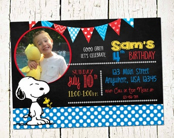 Snoopy Invite-Peanuts Party Invitation- Snoopy Invitation-Snoopy Party- Peanuts Printable