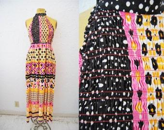 Vintage 60s Retro Print Dress Halter Maxi Long Ruched Elastic Bright Pink Print