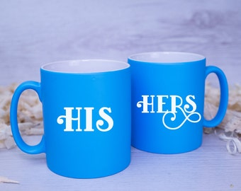HIS and HERS Couple's Mugs - Perfect Wedding, VALENTINES or Anniversary Gift