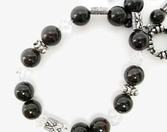 Garnet Bracelet semiprecious gemstone beadwork swarovski crystal stone