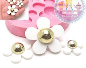 Three Small Daisy Flower Mould Cupcake Topping Fondant Mould Cookie Deco Cake deco Food Safe 416L* BEST QUALITY