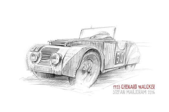 Chenard-Walcker Tank - Original A3 Pencil Sketch