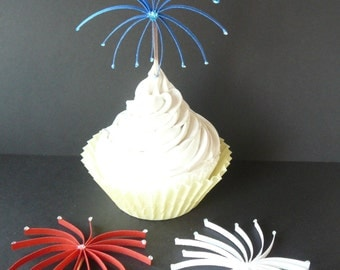 Paper Quilled Graduation 4th of July Fireworks Cupcake Topper Table Decorations Scrapbook Embellishments