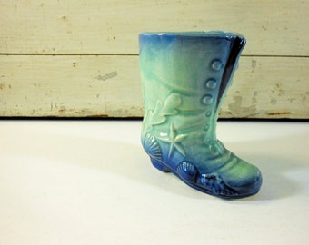 Turquoise and Blue Vintage Ceramic Boot Vase with Seashells Made in Japan