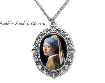 Girl with a Pearl Earring Pendant Necklace, Johannes Vermeer Art Necklace, Book Pendant Necklace, Literary Necklace, Literary Jewelry