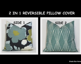 Teal & charcoal pillow cover. Reversible pillow cover. 18x18 Teal blue on Charcoal. Robert Allen designer fabrics. home decor accent