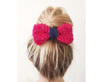 BOW Hand Knit Bow - Hair Bow Clip in Raspberry Pink