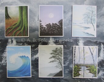 Nature Art Note Cards - 6 pack with Envelopes