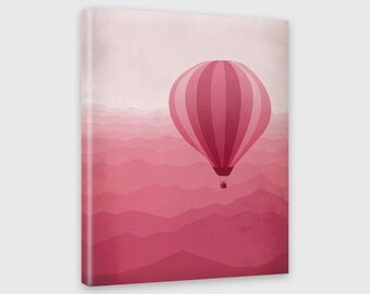 Pink Nursery Decor, Canvas Art, Nursery Art, Baby Girl Room Decor, Hot Air Balloon, Kids Wall Art, Pink Nursery Print, Teen Girl Room Decor
