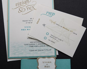Beach Wedding Invitation, Destination Wedding, Tropical Wedding, Nautical Wedding Invitation, Destination Invitation, Waves Invitation