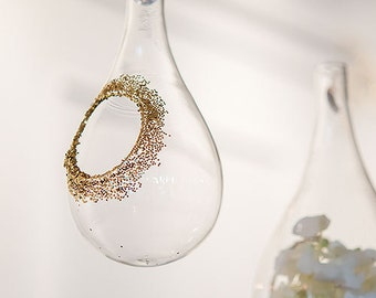 Craft Ornaments 4 Hanging Glass Teardrop Vases Ideal for Creating Holiday and Wedding Decorations