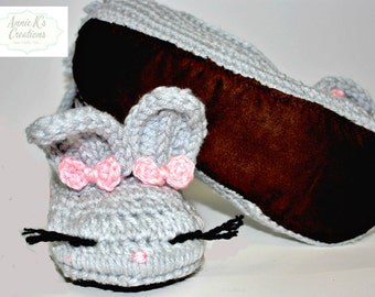 Suede Sole Adult Bunny Slippers - Easter, Bunny Slippers, White/Pink, Gray/Yellow Unique Gift