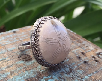 Sand dollar ring / fossilized sand dollar / ocean jewelry