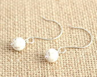 White Howlite and Sterling Silver Earrings / Minimalist Jewelry / Handcrafted Natural Stone Earrings / E113