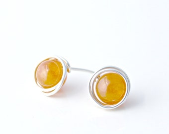 Orange Quartzite and Sterling Silver Post Earrings / Wire Wrapped Jewelry / Simple Silver Jewelry / Gifts under 20 / E308