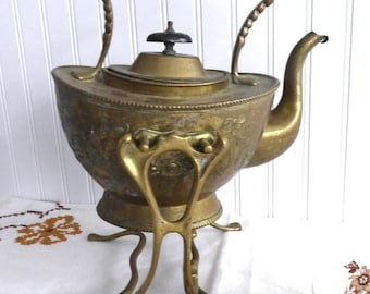 Soutter Ornate Brass Tipping Tea Kettle Spirit Kettle Mid Victorian Afternoon Tea 1870s Floral Teapot