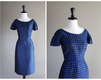 STOREWIDE SALE 20% Off ~ Gorgeous Blue & Black Checker Vintage 1950s Wiggle Dress / 1960s
