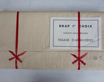 Superbe Vintage Unused French Metis Sheets with Ladderwork , Vintage High Quality, Tissage d'Armentière, Bedlinen linen Sheets