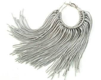 Silver Fringe Hoops