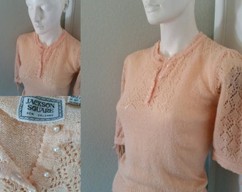 Vintage Jackson Square New Orleans knit crochet pale peach summer sweater pointelle sweater loose knit top prep boho