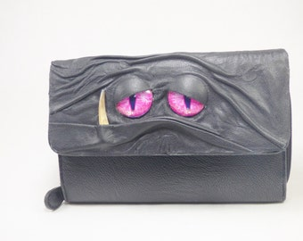 NEW! Wallet Woman's Zippered Black Leather Clutch With Face