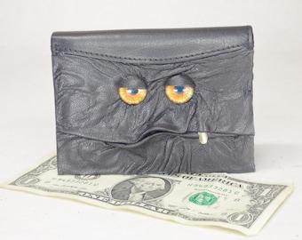 Leather Wallet Monster Face Bi-Fold Black Leather Credit Card Holder