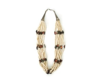 Vintage 70s White Multi Strand Beaded Necklace