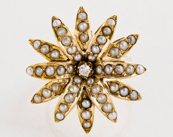 Antique Ring - Antique Victorian 18k Yellow Gold Seed Pearl & Diamond Conversion Ring