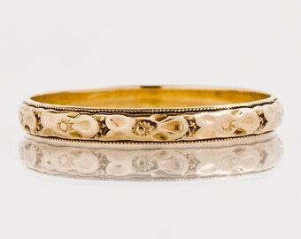 Antique Wedding Band - Antique 1920's 14k Rose Gold Etched Wedding Band