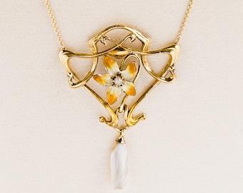 Antique Necklace - Antique Art Nouveau 14k Yellow Gold Enamel & Pearl Conversion Necklace