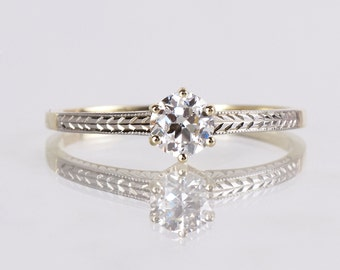 Antique Engagement Ring - Antique 1920s 14K Yellow and White Gold Diamond Engagement Ring