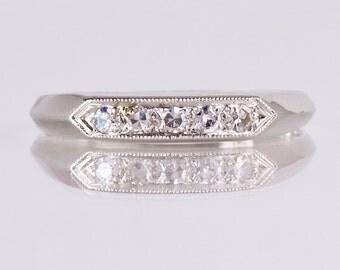 Antique Wedding Band - Antique 1930s Platinum Diamond Wedding Band