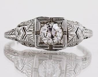 Antique Engagement Ring - Antique Victorian 18k White Gold Diamond Engagement Ring