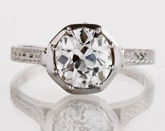Antique Engagement Ring - Antique 18k White Gold Old European Cushion Cut Diamond Engagement Ring