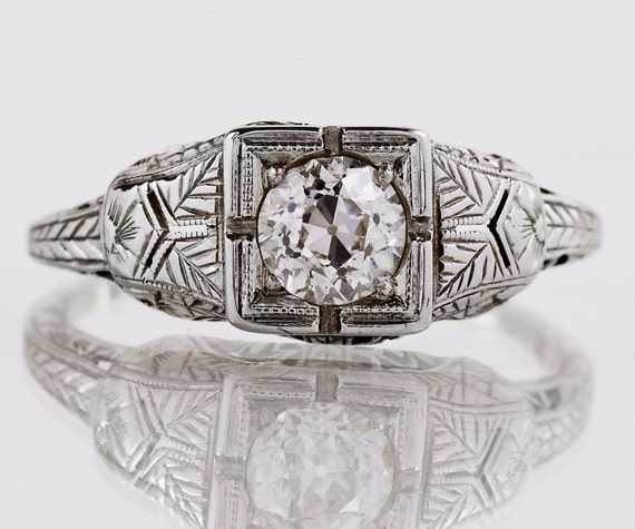 Antique Victorian 18k White Gold Diamond Engagement Ring