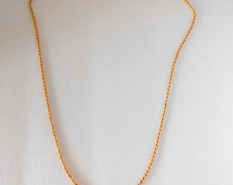 18K Solid Yellow Gold Rope Link Chain 9.8 Grams, 21 Inches