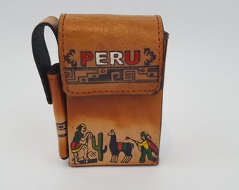 Peruvian Leather Cigarette and Lighter Case