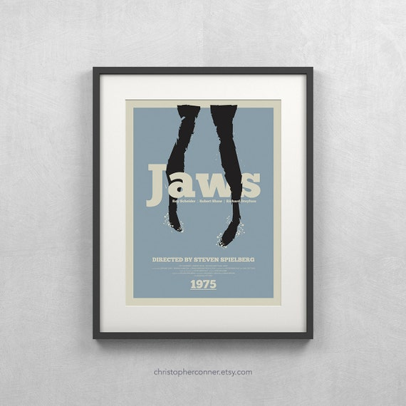 "Jaws Poster ~ 12x16"" Jaws Movie Poster, Minimalist Movie Poster, Jaws Quint"